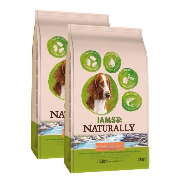 IAMS Naturally Hundefutter Trockenfutter Adult 2x7kg