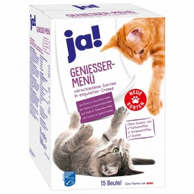 ja! Katzennassfutter Genießer-Menü Multipack verschieden Sorten in exquisitier Creme