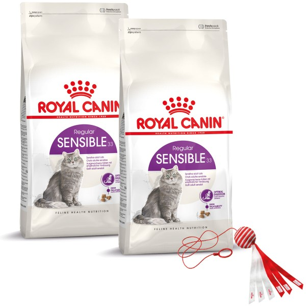 Royal Canin Katzenfutter Sensible Adult 2x10kg pls Spielzeug gratis