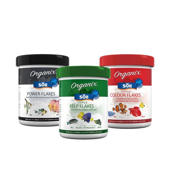 Söll Organix Super Kelp Flakes, Colour Flakes + Powerflakes 3x490ml