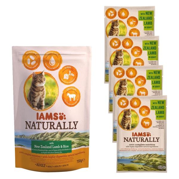 IAMS Naturally Probierpaket Lamm & Reis 700g + 4x85g Lamm in Sauce