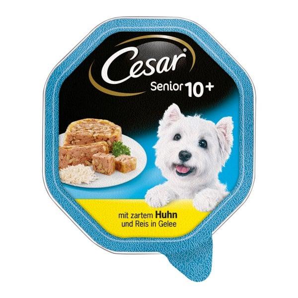 Cesar Senior 10+ mit zartem Huhn und Reis in Gelee 14x150g