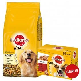 Pedigree Adult Huhn und Gemüse 15kg plus Multipack Gelee 12x100g GRATIS