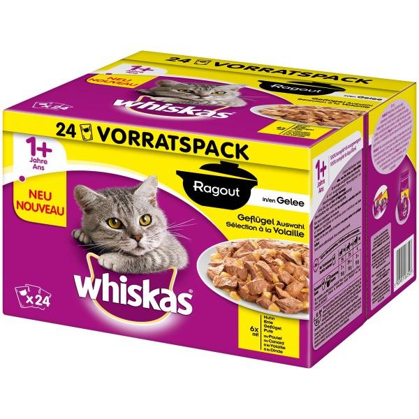 Whiskas Adult Ragout 1+ Geflügelauswahl in Gelee 24x85g