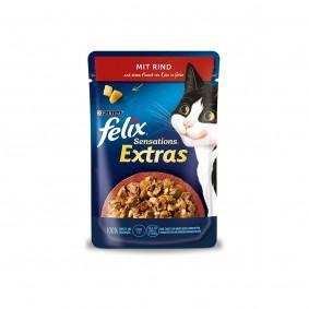 FELIX Sensations Extras mit Rind und einem Hauch von Käse