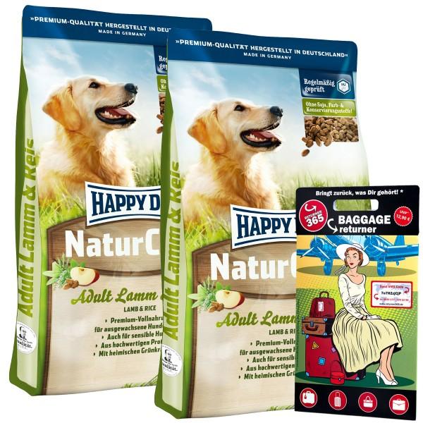 Happy Dog NaturCroq Lamm & Reis 30kg mit gratis Baggage Returner