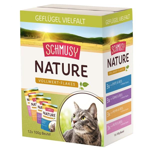 Schmusy Nature Vollwert-Flakes Geflügel Vielfalt Multibox 12x100g