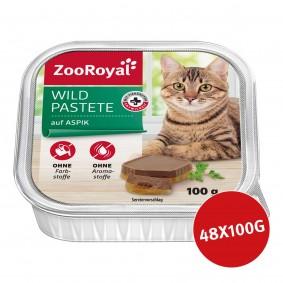 ZooRoyal Katzen-Nassfutter Wildpastete auf Aspik 48x100g