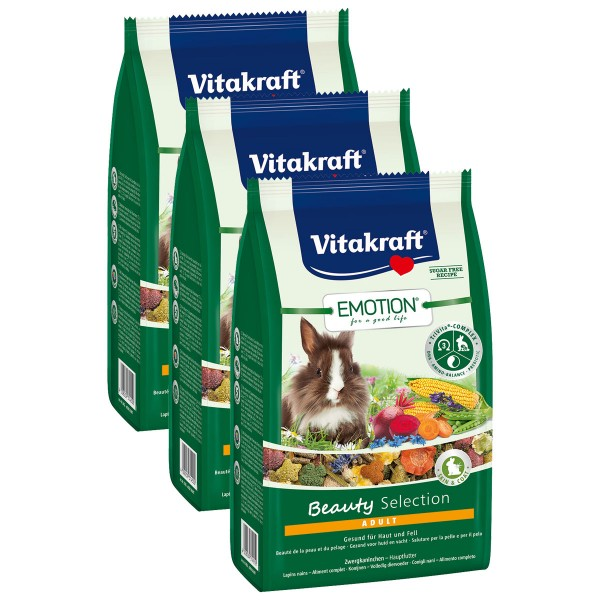 Vitakraft Emotion Beauty Selection Adult Zwergkaninchen 3x600g
