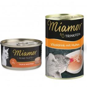 Miamor Feine Filets in Jelly Thunfisch und Wachtelei 24x100g + Trinkfein 135ml GRATIS!