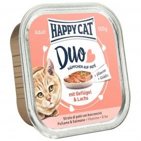 Happy Cat Paté auf Häppchen Geflügel & Lachs 12x100g
