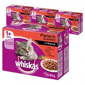 Whiskas Adult 1+ Fleischauswahl in Sauce 36+12 Gratis (48x100g)