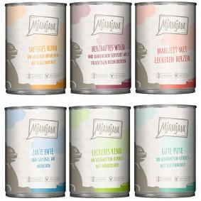 MjAMjAM Mixpaket III Wild&Kaninchen, Pute, Ente&Geflügel, Herzen, Huhn, Rind 6x400g