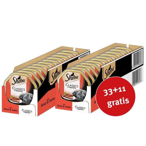 Sheba Katzenfutter Classics in Pastete mit Rind & Huhn 44x85g