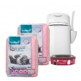 ZooRoyal Tigrooo mit Babypuderduft 2 x 12 kg + LitterLocker® Fashion Katzenstreu-Entsorgungseimer GR