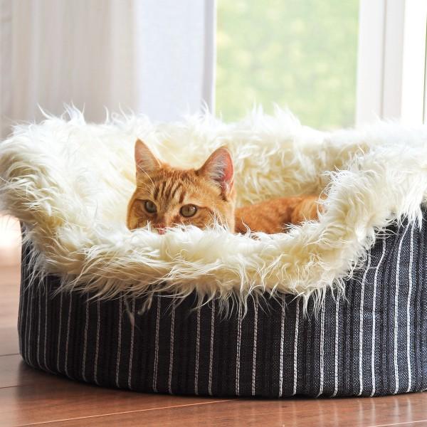 Aumüller Kuschelbett Kitty in braun mit abziehbarem Fellbezug