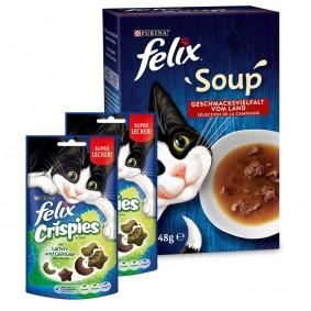 Felix Soup Rind, Huhn, Lamm 48x48g + Felix Crispies Fleisch & Gemüse 2er Pack gratis