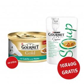 Gourmet Gold Zarte Häppchen  Lachs & Huhn 48x85g + Crystal Soup mit Huhn und Gemüse 10x40g GRATIS!