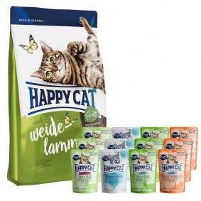 Happy Cat Supreme Weide-Lamm 10kg + Happy Cat Mixpaket 12x85g