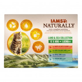 IAMS Naturally Adult Land & See Mix v omáčce, 12 x 85 g