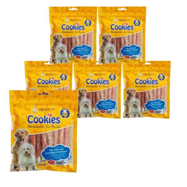 Hansepet Hundesnack Cookies Delikatess-Hähnchenfilet auf Kaurolle 6x200g
