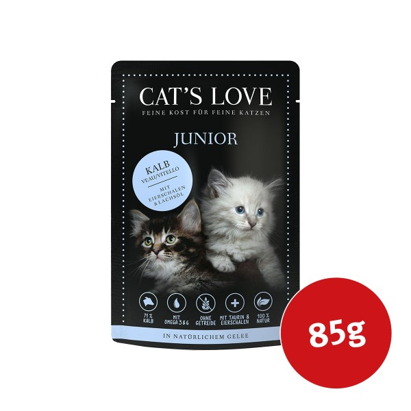 Cat's Love Nassfutter Junior Kalb mit Eierschalen & Lachsöl
