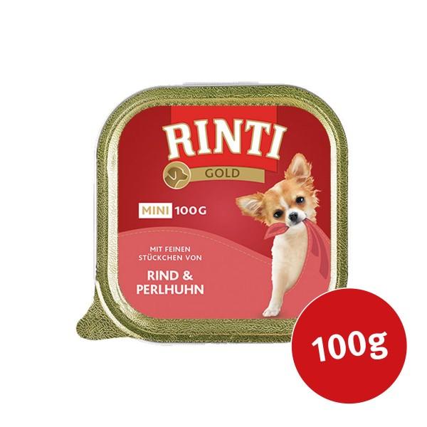 Rinti Gold Mini mit feinen Stückchen von Rind und Perlhuhn 100g