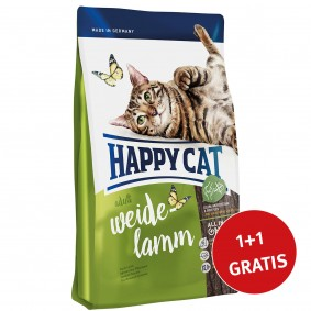 Happy Cat Supreme Adult Weide-Lamm 2x1,4kg 1+1 Gratis!