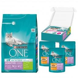 Purina One Bifensis Sensitive Truthahn und Reis 1,5kg + 3x85g Purina One Nassfutter gratis