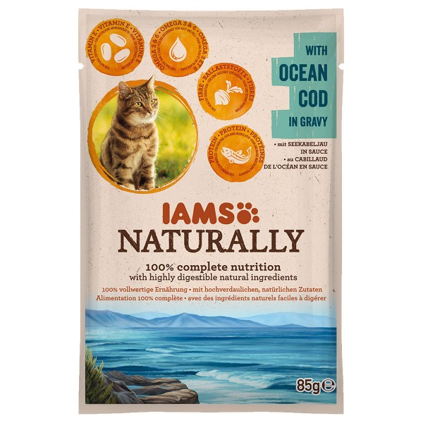 IAMS Naturally Katze Nassfutter Adult Kabeljau ...