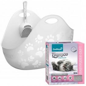 LitterLocker®Katzentoilette LitterBox weiß+ZooRoyal Tigrooo Ultraklumpstreu Babypuderduft 6kg GRATIS