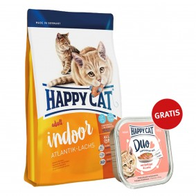 Happy Cat Supreme Indoor Adult Atlantik-Lachs 300g plus Paté Geflügel & Lachs 100g