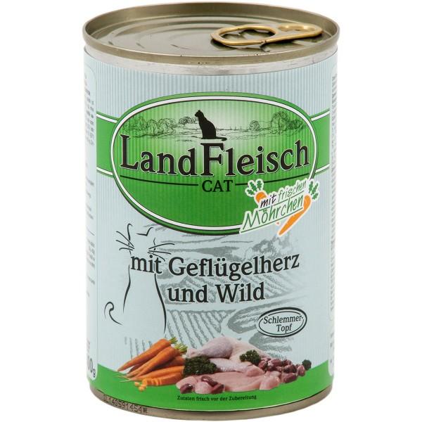 Landfleisch Cat Kazen-Nassfutter Schlemmertopf Geflügelherzen & Wild