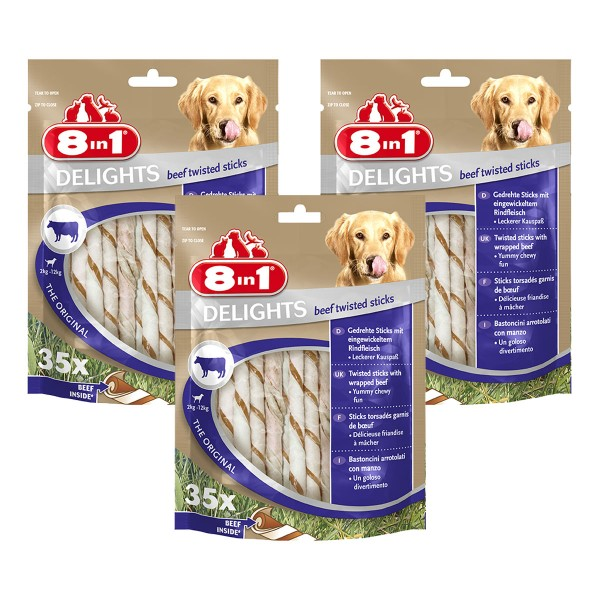 8in1 Hundesnack Delights Beef Twisted Sticks 105 Stück