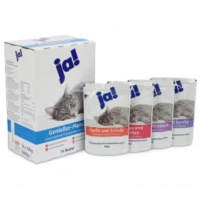 ja! Katzenfutter verschiedene Fischsorten in Sauce 14x100g