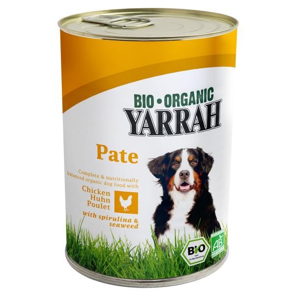 Yarrah Hundefutter Bio Pate Huhn Spirulina und Seetang 24x400g