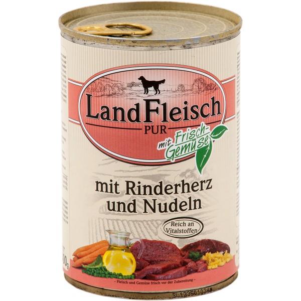 Landfleisch Hundefutter Dog Pur Rinderherz und Nudeln