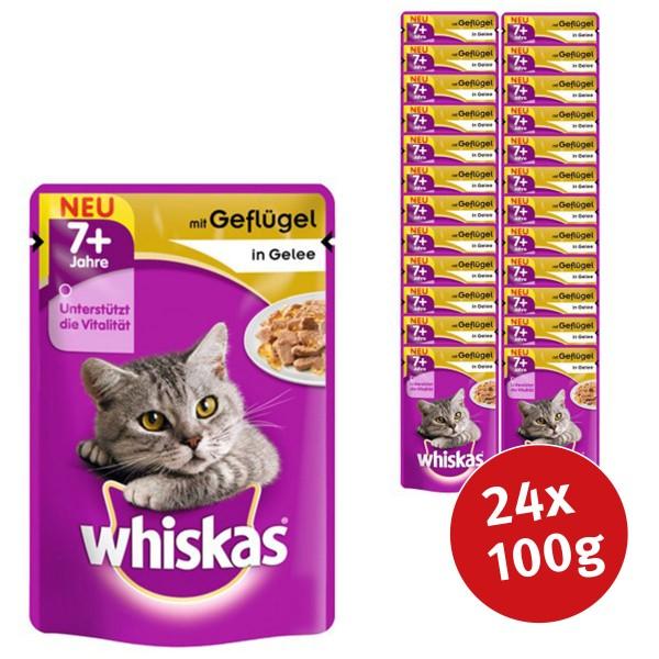 Whiskas Katzenfutter 7+ Geflügel in Gelee 24x100g