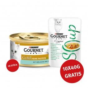 Gourmet Gold Feine Pastete Seelachs und Karotten 48x85g + Crystal Soup Huhn und Gemüse 10x40g GRATIS
