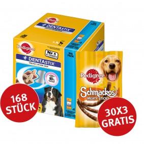 Pedigree Dentastix Big Pack  für große Hunde  168 Stück + 30 Pedigree Schmackos gratis