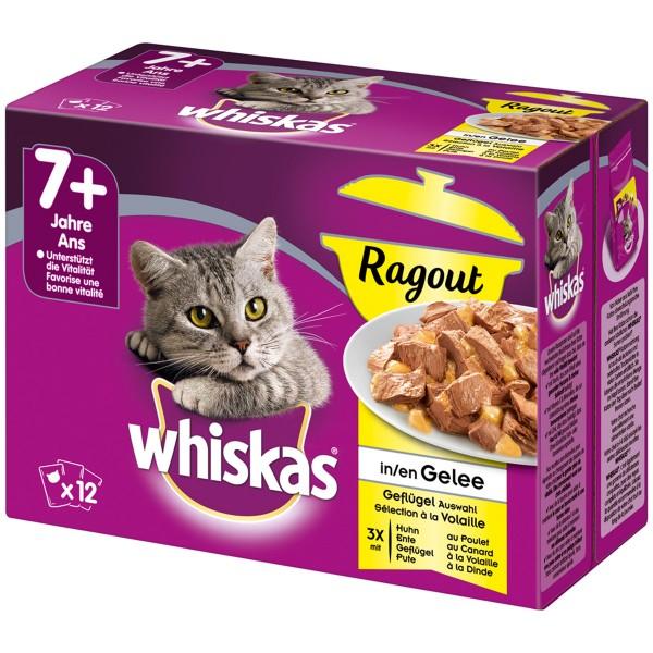 Whiskas Katzenfutter Ragout Senior 7+ Geflügelauswahl in Gelee 12x85g