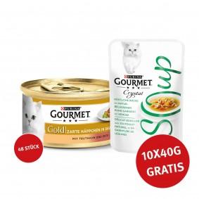 Gourmet Gold Zarte Häppchen Truthahn & Ente 48x85g + Crystal Soup mit Huhn und Gemüse 10x40g GRATIS!