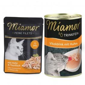 Miamor Feine Filets Huhn und Thunfisch 24x100g + Trinkfein 135ml GRATIS!