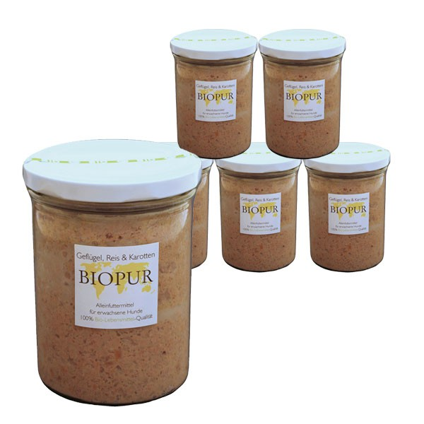 BIOPUR Hundefutter Bio Geflügel, Reis, Karotten im Glas 6x400g