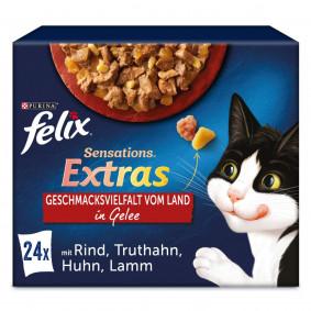 FELIX Sensations Extras in Gelee Geschmacksvielfalt vom Land 24x85g