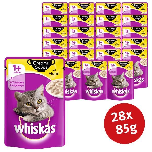 Whiskas Katzenfutter 1+ Creamy Soups mit Huhn 28x85g