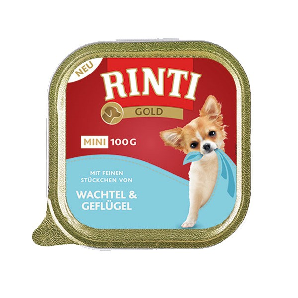 Rinti Hunde-Nassfutter Gold Mini Wachtel & Geflügel 100g