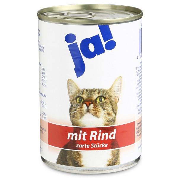 ja! Katzenfutter mit Rind in zarten Stückchen