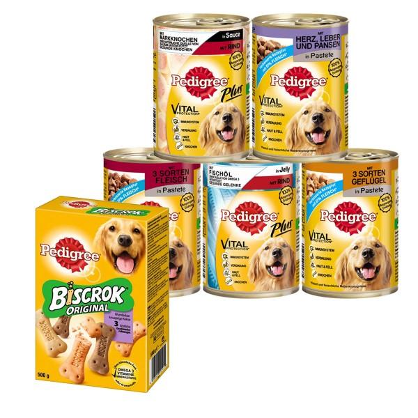Pedigree Hundefutter Multipack 60x400g + 2kg Biscrock