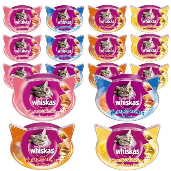 Whiskas Mega Snack Bundle Knuspertaschen Meeresfrüchte, Lachs, Rind und Huhn 16x60g